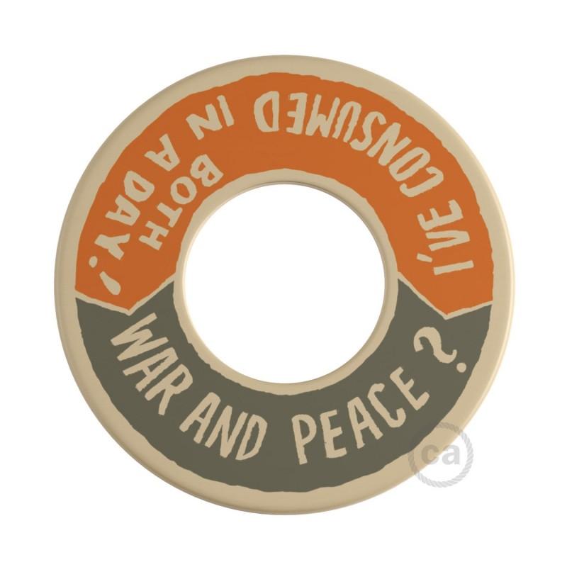 MINI-UFO: Ξύλινος Δίσκος διπλής όψης READING BALLSH*T, επιγραφή WAR&PEACE + BETTER THAN THE MOVIE