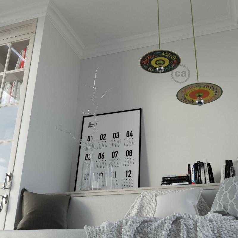 UFO Κρεμαστό Φωτιστικό με Ξύλινο Φωτιστικό Πιάτο Διπλής Όψης, by Pemberley Pond. PESSOA+BALZAC με καλώδιο RM32 Λαχανί Kiwi