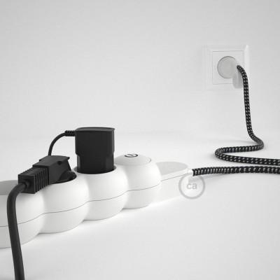 Πολύπριζο με Υφασμάτινο 3D Μαύρο Λευκό Καλώδιο 3x1.5 RΤ41 με πλάγιες σούκο υποδοχές.