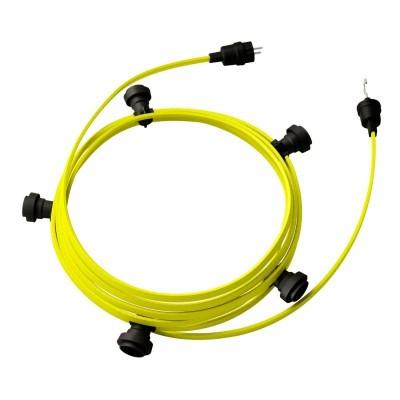 Γιρλάντα έτοιμη για χρήση, 7,5m υφασμάτινο καλώδιο πλακέ Κίτρινο Φωσφοριζέ CF10 με 5 ντουί, γάντζο και φις