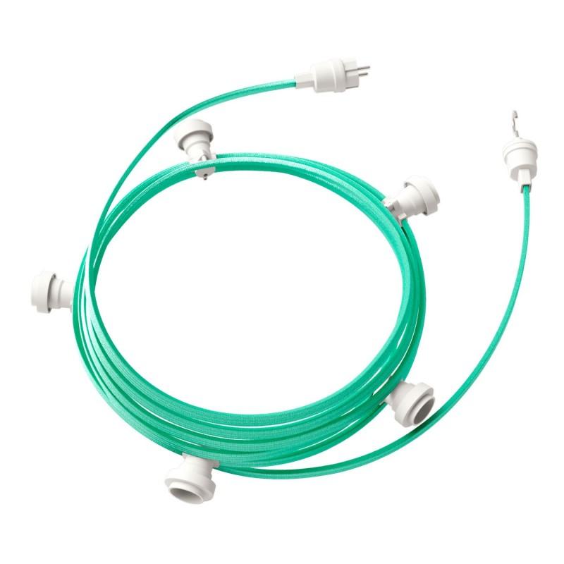 Γιρλάντα έτοιμη για χρήση, 7,5m υφασμάτινο καλώδιο πλακέ Πράσινο Οπάλ CH69 με 5 ντουί, γάντζο και φις