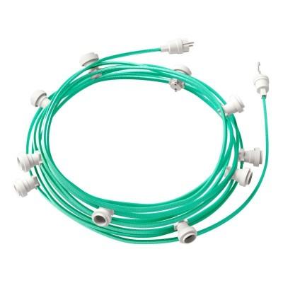 Γιρλάντα έτοιμη για χρήση, 12,5m υφασμάτινο καλώδιο πλακέ Πράσινο Οπάλ CH69 με 10 ντουί, γάντζο και φις