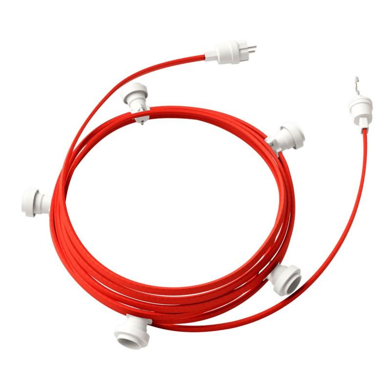 Γιρλάντα έτοιμη για χρήση, 7,5m υφασμάτινο καλώδιο πλακέ Κόκκινο CM09 με 5 ντουί, γάντζο και φις