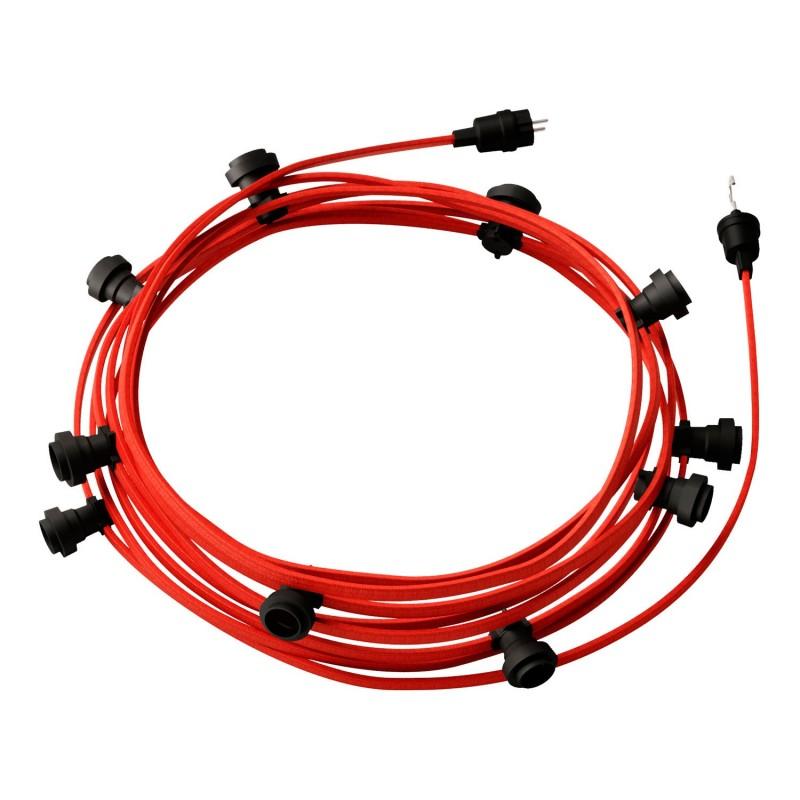 Γιρλάντα έτοιμη για χρήση, 12,5m υφασμάτινο καλώδιο πλακέ Κόκκινο CM09 με 10 ντουί, γάντζο και φις