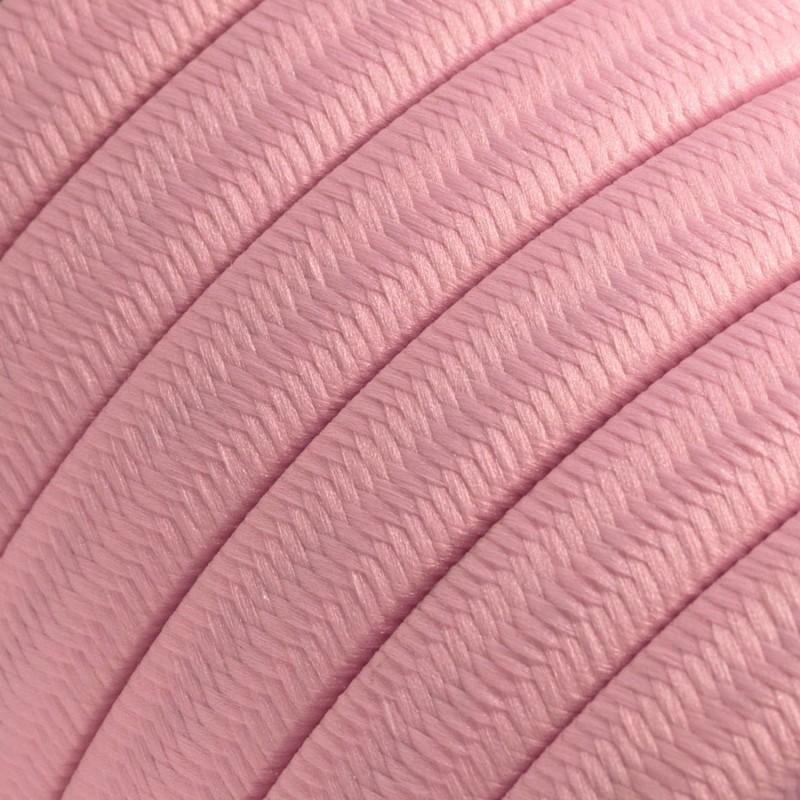 Γιρλάντα έτοιμη για χρήση, 7,5m υφασμάτινο καλώδιο πλακέ Ροζ CM16 με 5 ντουί, γάντζο και φις