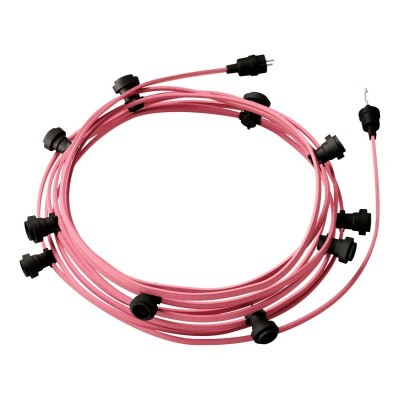 Γιρλάντα έτοιμη για χρήση, 12,5m υφασμάτινο καλώδιο πλακέ Ροζ CM16 με 10 ντουί, γάντζο και φις