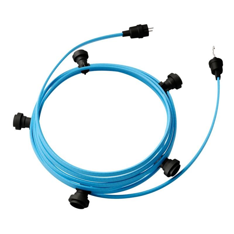 Γιρλάντα έτοιμη για χρήση, 7,5m υφασμάτινο καλώδιο πλακέ Γαλάζιο Απαλό CM17 με 5 ντουί, γάντζο και φις