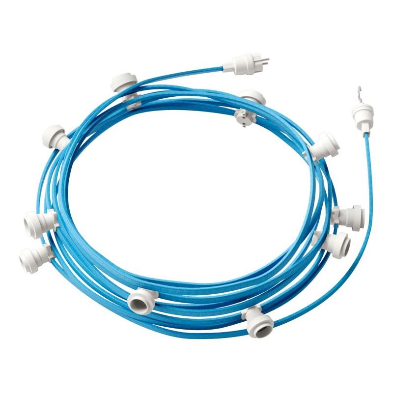 Γιρλάντα έτοιμη για χρήση, 12,5m υφασμάτινο καλώδιο πλακέ Γαλάζιο Απαλό CM17 με 10 ντουί, γάντζο και φις