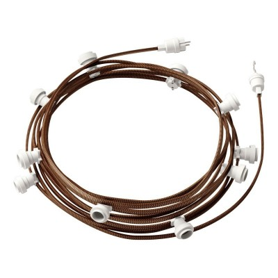 Γιρλάντα έτοιμη για χρήση, 12,5m υφασμάτινο καλώδιο πλακέ Χάλκινο-Μαύρο CZ22 με 10 ντουί, γάντζο και φις