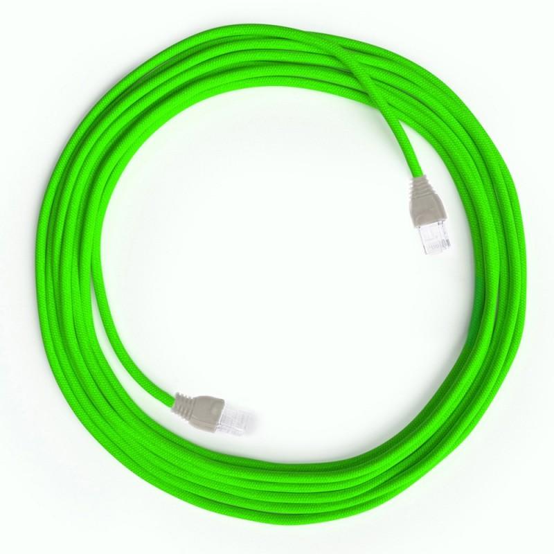 LAN - Ethernet Υφασμάτινο Καλώδιο RF06 Φωσφοριζέ Πράσινο - Cat 5e RJ45