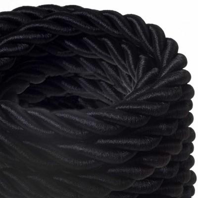 Καλώδιο Σχοινί - Τριχιά 2XL, καλώδιο 3x0,75 καλυμμένο με ύφασμα και Γυαλιστερό Μαύρο Βαμβάκι. Διάμετρος 24 mm.