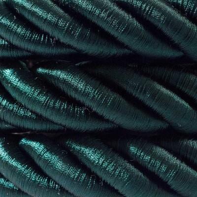 Καλώδιο Σχοινί - Τριχιά 2XL, καλώδιο 3x0,75 καλυμμένο με ύφασμα και Γυαλιστερό Σκούρο Πράσινο Βαμβάκι. Διάμετρος 24 mm.