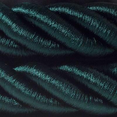 Καλώδιο Σχοινί - Τριχιά 3XL, καλώδιο 3x0,75 καλυμμένο με ύφασμα και Γυαλιστερό Σκούρο Πράσινο Βαμβάκι. Διάμετρος 30 mm.