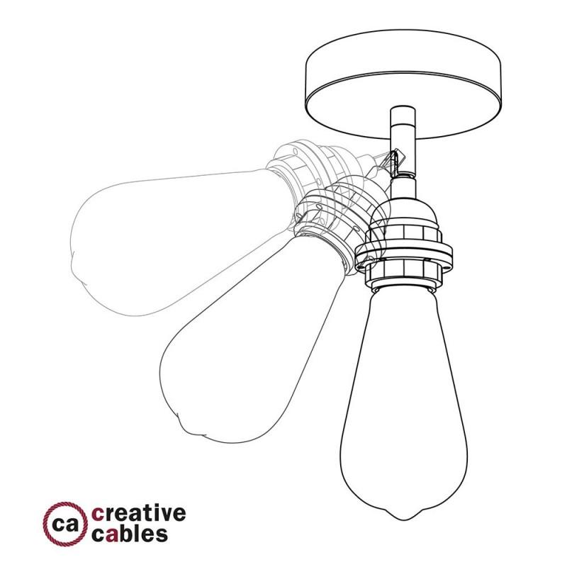 Φωτιστικό Τοίχου ή Οροφής Fermaluce Glam 90° Monochrome, κινητό μεταλλικό με ντουί με ροδέλες