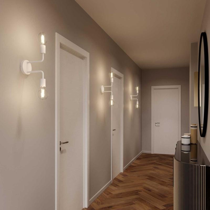 Φωτιστικό Τοίχου 2φωτο Fermaluce Monochrome, μεταλλικό