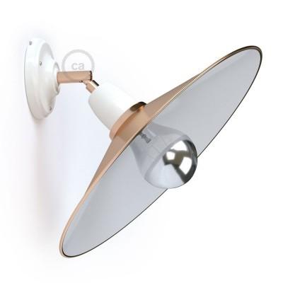 Φωτιστικό Τοίχου ή Οροφής Fermaluce 90° Glam, κινητή απλίκα πορσελάνης με μεταλλικό καπέλο Swing