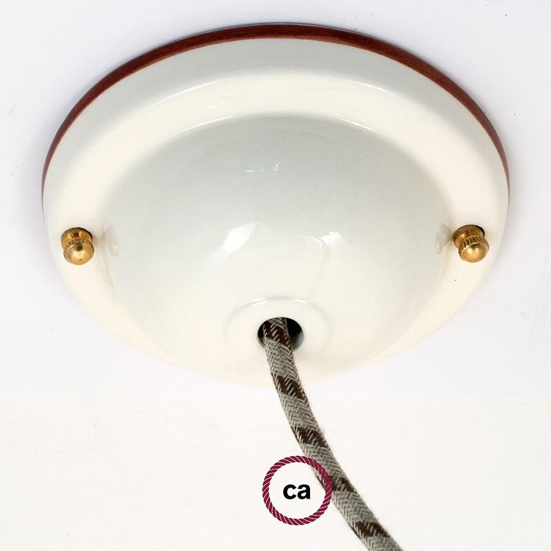 Ροζέτα Φωτιστικού Κεραμική Διακοσμημένη με Χρωματιστό Δαχτυλίδι