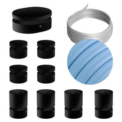 Σύστημα Filé Γιρλάντα Συμμετρικό DIY Kit - 5m καλώδιο γιρλάντας και 9 μαύρα ξύλινα αξεσουάρ εσωτερικού χώρου