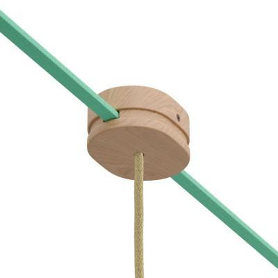 Ξύλινο Εξάρτημα Ροζέτα Οβάλ DIY με 1 τρύπα στο κέντρο και 2 τρύπες στο πλάι για Καλώδιο Γιρλάντας - Σειρά Filé. Made in Italy