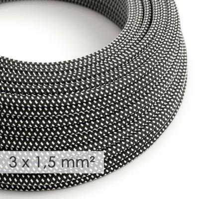 Στρογγυλό Υφασμάτινο καλώδιο μεγάλης Διατομής 3x1,50 3D Μαύρο RT41
