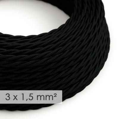 Στριφτό Υφασμάτινο καλώδιο μεγάλης Διατομής 3x1,50 Μαύρο TM04