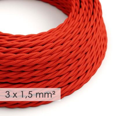 Στριφτό Υφασμάτινο καλώδιο μεγάλης Διατομής 3x1,50 Κόκκινο TM09