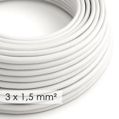Στρογγυλό Υφασμάτινο καλώδιο μεγάλης Διατομής 3x1,50 Λευκό RM01