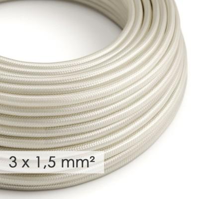 Στρογγυλό Υφασμάτινο καλώδιο μεγάλης Διατομής 3x1,50 Ιβουάρ Ρεγιόν Μετάξι RM00
