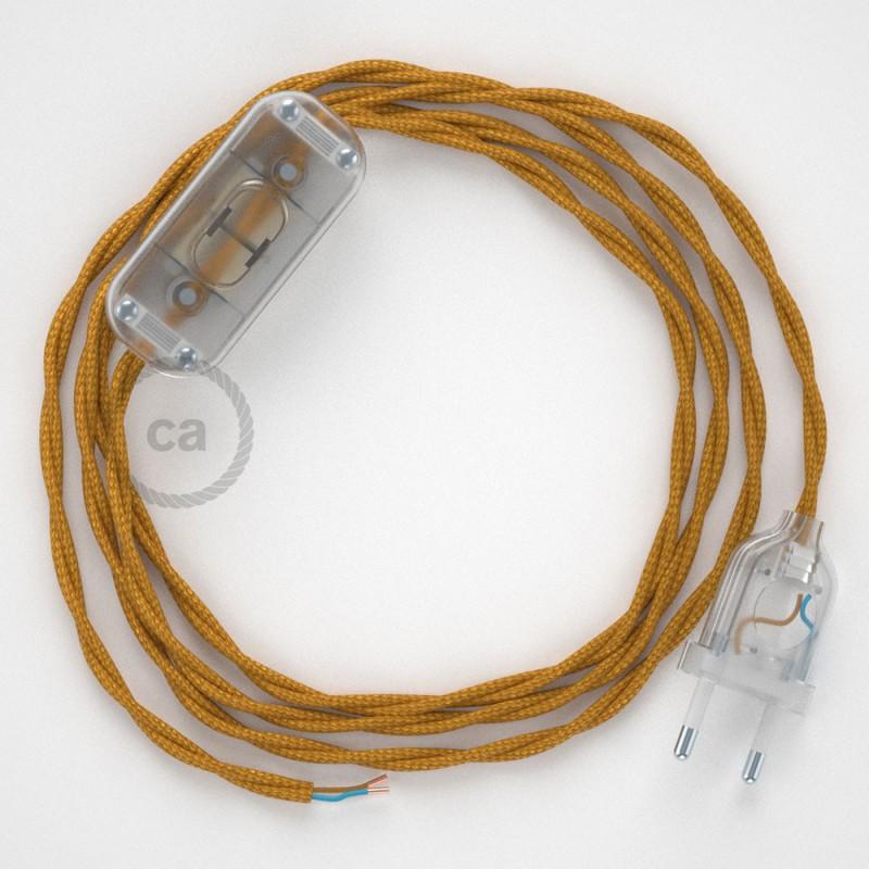 Καλωδίωση πορτατίφ με Στριφτό Υφασμάτινο Καλώδιο TM05 Χρυσό - 1.80 m. Με ενδιάμεσο διακοπτάκι και φις.