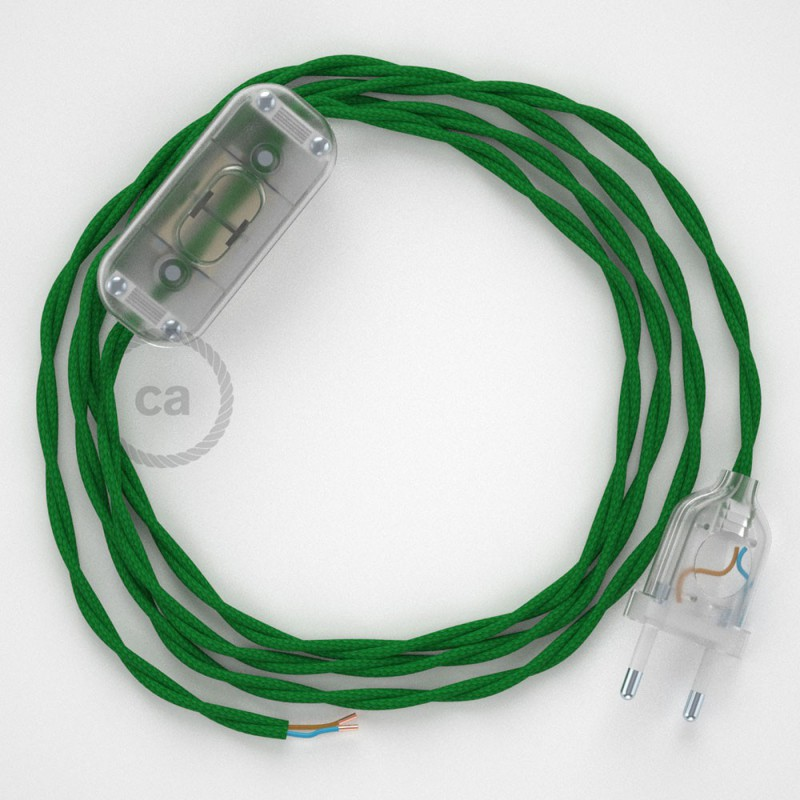 Καλωδίωση πορτατίφ με Στριφτό Υφασμάτινο Καλώδιο TM06 Πράσινο - 1.80 m. Με ενδιάμεσο διακοπτάκι και φις.