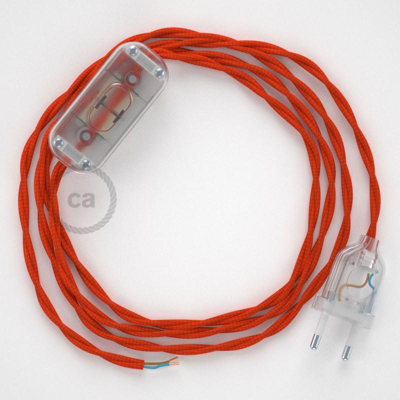 Καλωδίωση πορτατίφ με Στριφτό Υφασμάτινο Καλώδιο TM15 Πορτοκαλί - 1.80 m. Με ενδιάμεσο διακοπτάκι και φις.