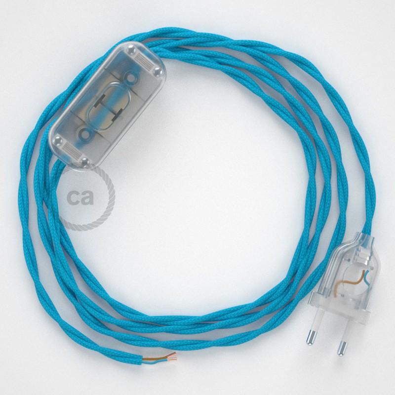 Καλωδίωση πορτατίφ με Στριφτό Υφασμάτινο Καλώδιο TM11 Γαλάζιο - 1.80 m. Με ενδιάμεσο διακοπτάκι και φις.