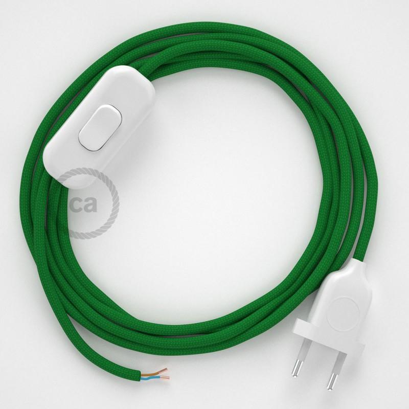 Καλωδίωση πορτατίφ με Υφασμάτινο Καλώδιο RM06 Πράσινο - 1.80 m. Με ενδιάμεσο διακοπτάκι και φις.
