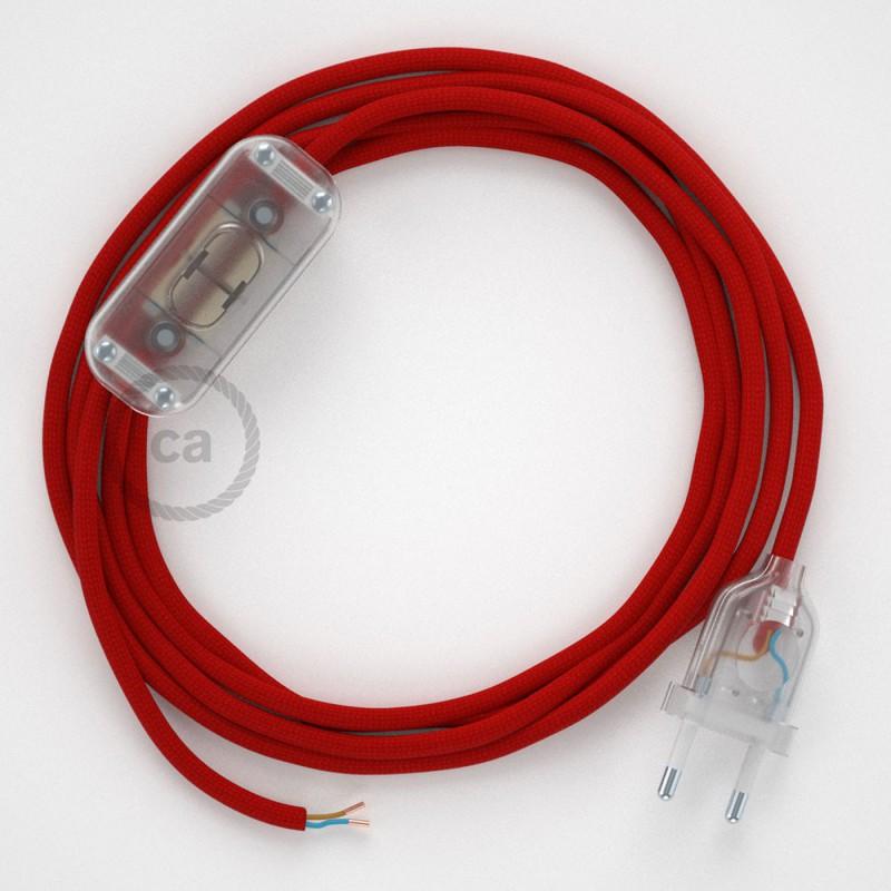Καλωδίωση πορτατίφ με Υφασμάτινο Καλώδιο RM09 Κόκκινο - 1.80 m. Με ενδιάμεσο διακοπτάκι και φις.