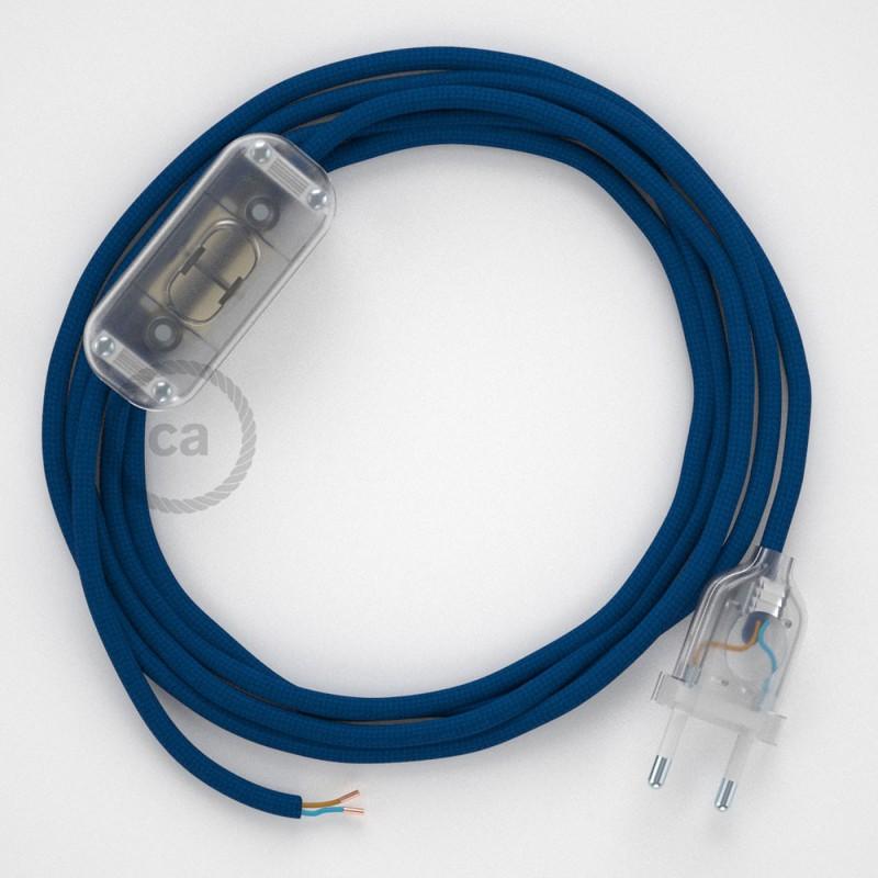 Καλωδίωση πορτατίφ με Υφασμάτινο Καλώδιο RM12 Μπλε - 1.80 m. Με ενδιάμεσο διακοπτάκι και φις.