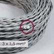 Στριφτό Υφασμάτινο καλώδιο μεγάλης Διατομής 3x1,50 Ασημί TM02