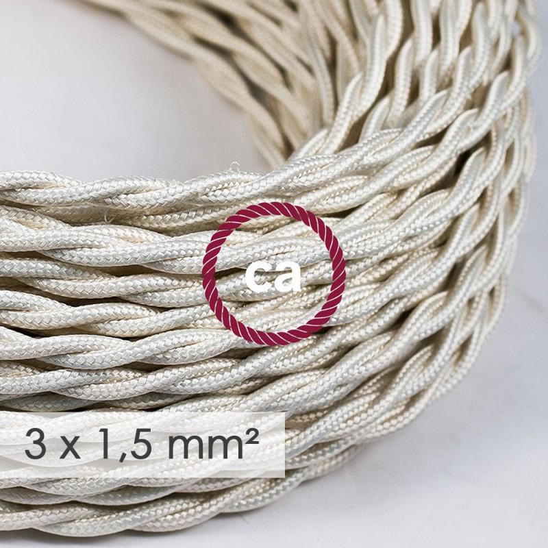 Στριφτό Υφασμάτινο καλώδιο μεγάλης Διατομής 3x1,50 Ιβουάρ TM00