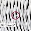 Στριφτό Υφασμάτινο καλώδιο μεγάλης Διατομής 3x1,50 Λευκό TM01