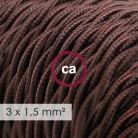 Στριφτό Υφασμάτινο καλώδιο μεγάλης Διατομής 3x1,50 Καφέ TM13