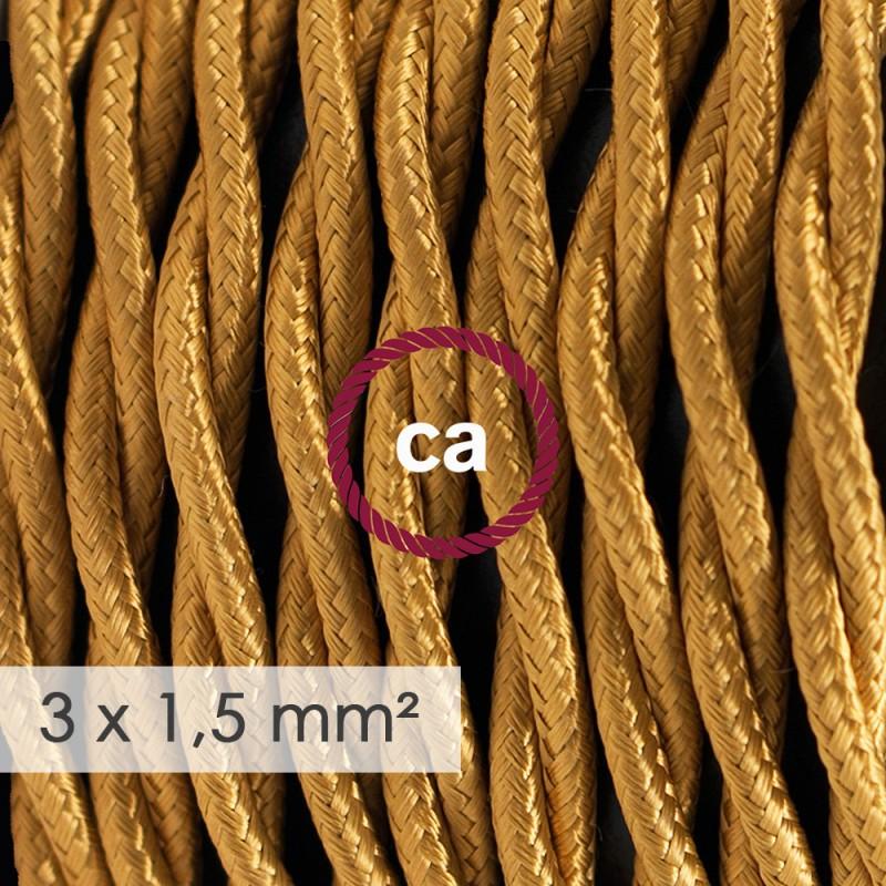 Στριφτό Υφασμάτινο καλώδιο μεγάλης Διατομής 3x1,50 Χρυσό TM05