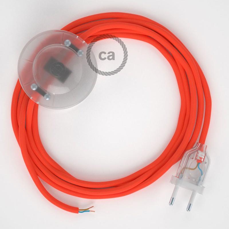 Υφασματινο Καλώδιο για Φωτιστικά Δαπέδου RF15 Πορτοκαλί Φωσφοριζέ - 3 m. Με διακόπτη ποδός και φις.
