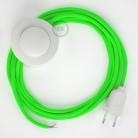 Υφασματινο Καλώδιο για Φωτιστικά Δαπέδου RF06 Πράσινο Φωσφοριζέ - 3 m. Με διακόπτη ποδός και φις.