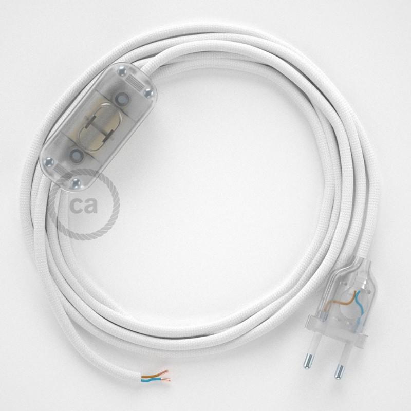 Καλωδίωση πορτατίφ με Υφασμάτινο Καλώδιο RM01 Λευκό - 1.80 m. Με ενδιάμεσο διακοπτάκι και φις.