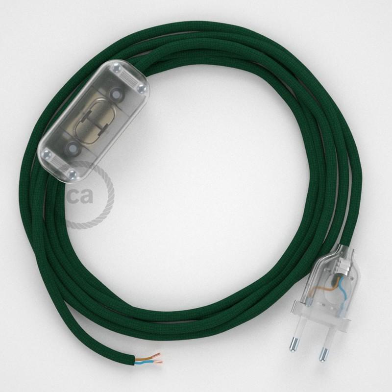 Καλωδίωση πορτατίφ με Υφασμάτινο Καλώδιο RM21 Σκούρο Πράσινο - 1.80 m. Με ενδιάμεσο διακοπτάκι και φις.