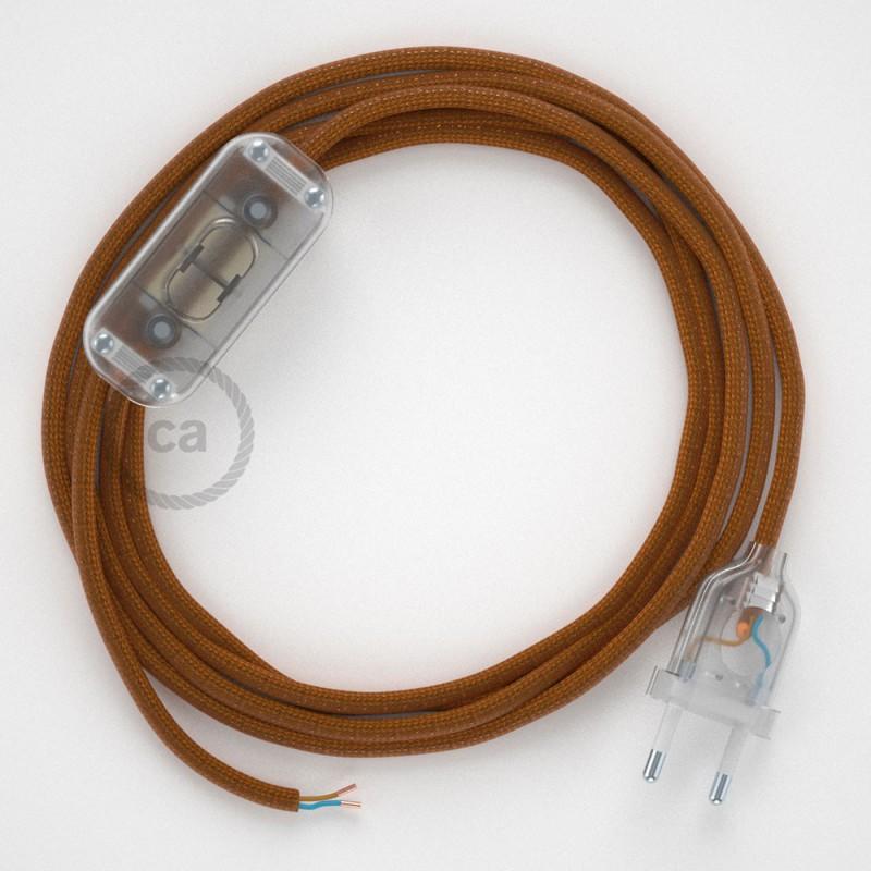 Καλωδίωση πορτατίφ με Υφασμάτινο Καλώδιο RM22 Ουίσκι - 1.80 m. Με ενδιάμεσο διακοπτάκι και φις.