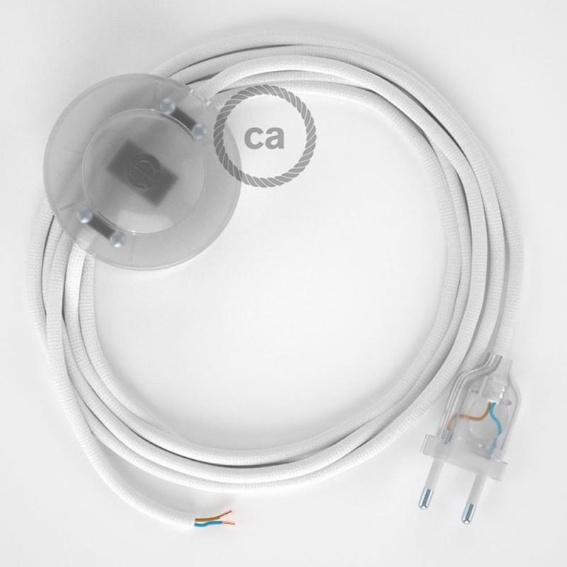 Υφασματινο Καλώδιο για Φωτιστικά Δαπέδου RM01 Λευκό - 3 m. Με διακόπτη ποδός και φις.