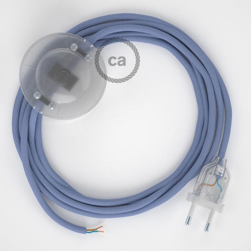 Υφασματινο Καλώδιο για Φωτιστικά Δαπέδου RM07 Λιλά - 3 m. Με διακόπτη ποδός και φις.