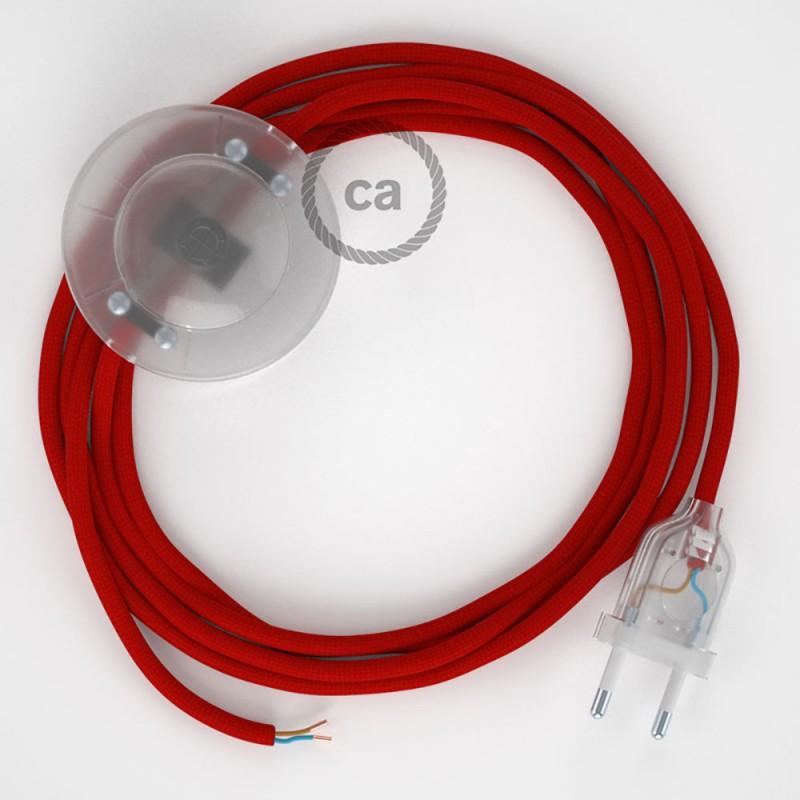 Υφασματινο Καλώδιο για Φωτιστικά Δαπέδου RM09 Κόκκινο - 3 m. Με διακόπτη ποδός και φις.