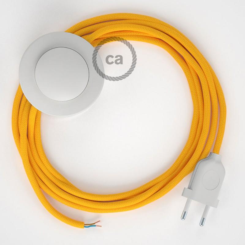 Υφασματινο Καλώδιο για Φωτιστικά Δαπέδου RM10 Κίτρινο - 3 m. Με διακόπτη ποδός και φις.