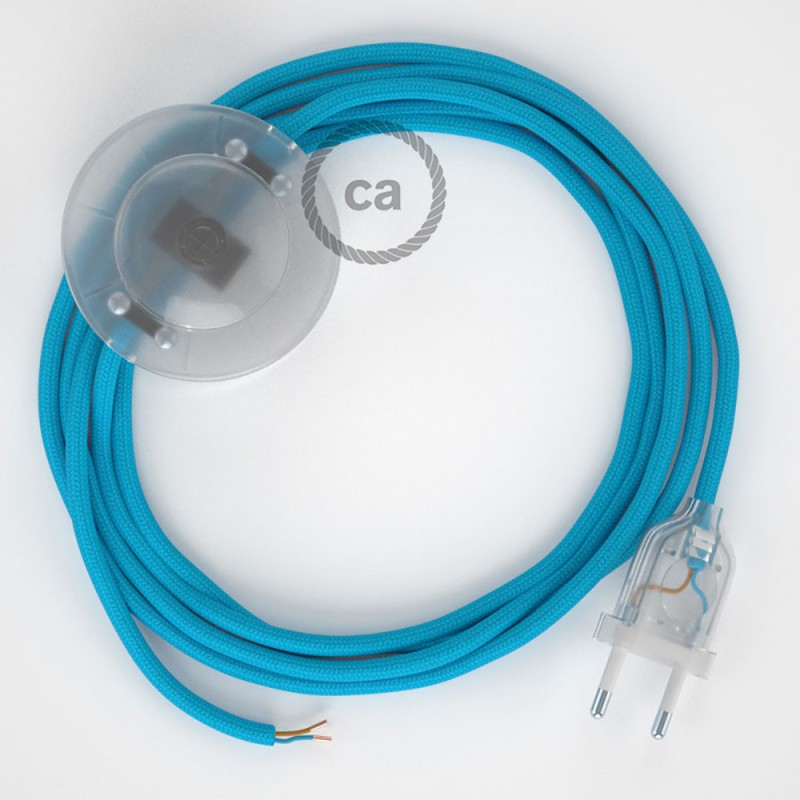 Υφασματινο Καλώδιο για Φωτιστικά Δαπέδου RM17 Γαλάζιο - 3 m. Με διακόπτη ποδός και φις.